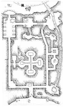 The dungeon on Twinge Isle, including the Elemental Forge
