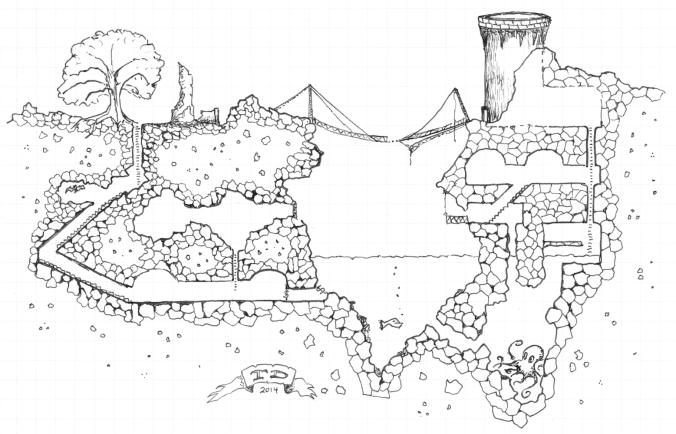 Stone Octopus Garden B/W